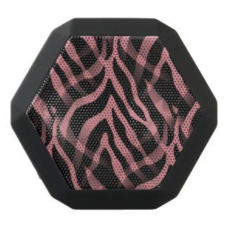 粋ないちごのピンクのシマウマのストライプのプリント ブラックBluetoothスピーカー