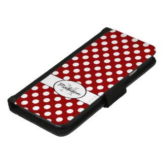 粋なえんじ色および白い水玉模様のモノグラム iPhone 8/7 ウォレットケース