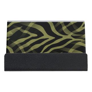 粋なオリーブ色のシマウマのストライプのプリント デスク名刺ホルダー