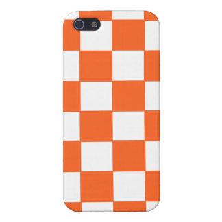 粋なオレンジおよび白いチェッカーボードパターン iPhone 5 カバー