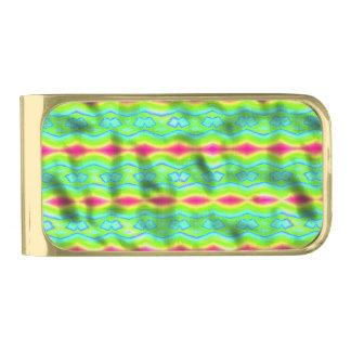 粋なカラフルの抽象芸術パターン ゴールド マネークリップ