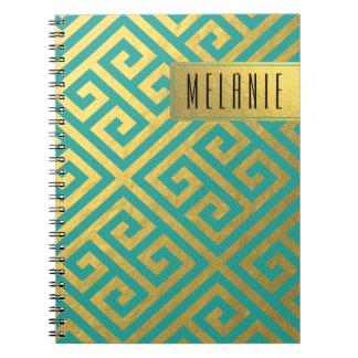 粋なギリシャ人の鍵の対角線|の金ゴールドホイルのティール(緑がかった色) ノートブック
