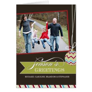 粋なシェブロンのクリスマスの写真の挨拶状 カード