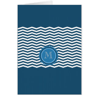 粋なシェブロンの青のモノグラム カード