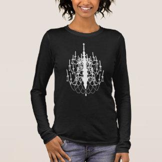 粋なシャンデリアのシルエット、女性ティー 長袖Tシャツ