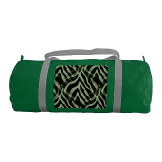 粋なセージグリーンのシマウマのストライプのプリント ジムバッグ
