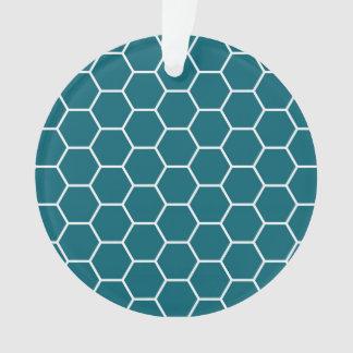 粋なターコイズの幾何学的な六角形パターン オーナメント