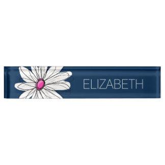 粋なデイジーの花のイラストレーション-海軍およびピンク デスクネームプレート
