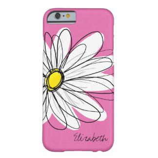 粋なデイジーの花の絵-ピンクの黄色 BARELY THERE iPhone 6 ケース