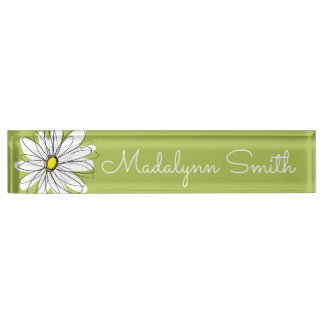 粋なデイジーの花の絵-ライムおよび黄色 デスクネームプレート