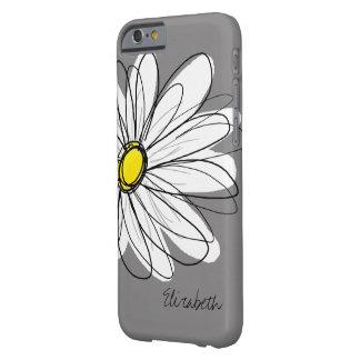 粋なデイジーの花の絵-灰色および黄色 BARELY THERE iPhone 6 ケース