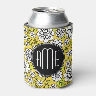 粋なデイジーの花の絵-黒及び黄色 缶クーラー