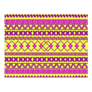 粋なネオン黄色いピンクの種族のアステカなパターン ポストカード