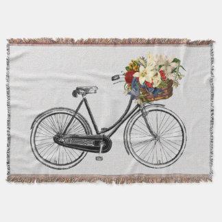 粋なバイクの自転車の花のバイクの投球毛布 スローブランケット