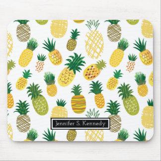 粋なパイナップルパターン|はあなたの名前を加えます マウスパッド