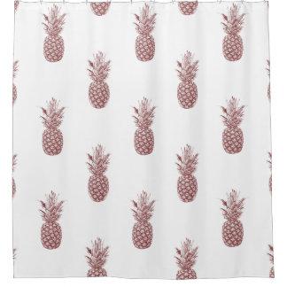 粋なパイナップルパターン シャワーカーテン