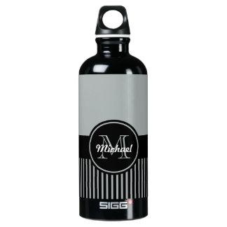 粋なパロマの灰色の黒のストライプのモノグラムの円 ウォーターボトル