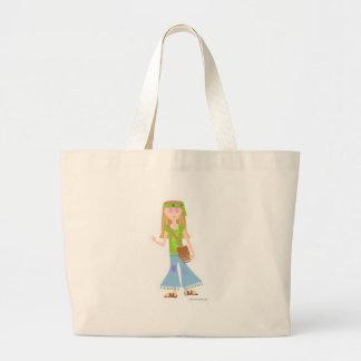 粋なヒッピーの女の子 ラージトートバッグ