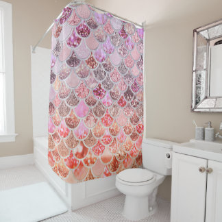 粋なピンクのグラデーションなグリッターの人魚の魚スケール シャワーカーテン