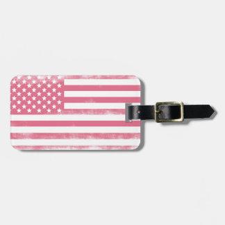 粋なピンクのグランジな米国旗 ラゲッジタグ