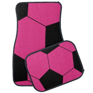 粋なピンクのサッカーボールのカーマット カーマット