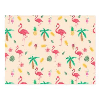 粋なピンクの水彩画の熱帯フラミンゴの花柄 ポストカード