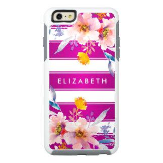 粋なピンクの花のストライプのなオッターボックスのiPhone6ケース オッターボックスiPhone 6/6s Plusケース