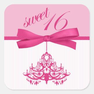 粋なピンク及び白い菓子16のシャンデリアのステッカー スクエアシール