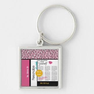 粋なファッションの新聞用紙のピンクのヒョウおよび名前 キーホルダー