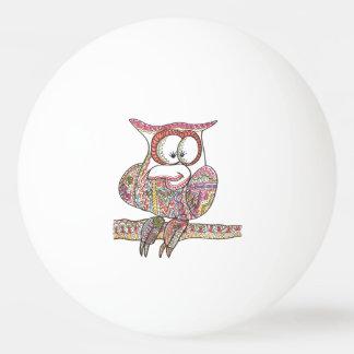 粋なフクロウ-近代美術インクスケッチ 卓球ボール