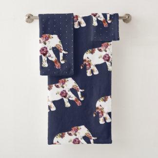 粋なボヘミアの花象及び水玉模様 バスタオルセット