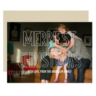 粋なメリークリスマスの上敷の写真の平らなカード 12.7 X 17.8 インビテーションカード