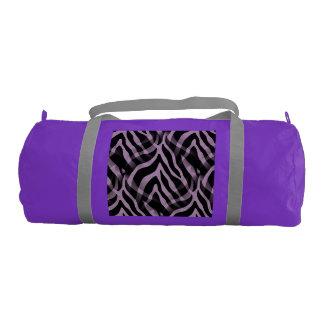 粋なラベンダーの紫色のシマウマのストライプのプリント ジムバッグ
