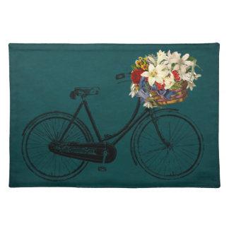 粋なランチョンマットの緑のアイボリーの自転車の花のバイク ランチョンマット