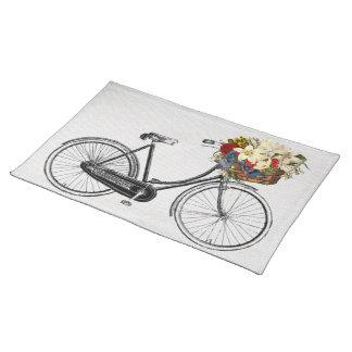 粋なランチョンマットの自転車の花のバイクの白 ランチョンマット