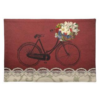 粋なランチョンマットの赤いアイボリーの自転車の花のバイク ランチョンマット