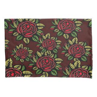 粋なレトロの赤いバラの枕箱 枕カバー