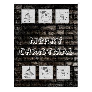 粋なレンガ壁のおもしろいのクリスマスのパッチワークの休日 ポストカード