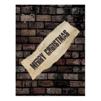 粋なレンガ壁のおもしろいのクリスマスのgrundgeの休日 ポストカード