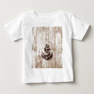 粋なヴィンテージの素朴で航海のないかり ベビーTシャツ