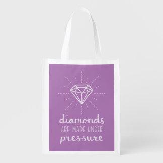 粋な圧力はダイヤモンドの紫色の買い物袋を作ります エコバッグ