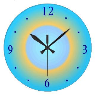 粋な水の青いYellow>のモダンな柱時計 ラージ壁時計