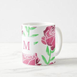 粋な水彩画のバラ-白いコーヒー・マグ コーヒーマグカップ