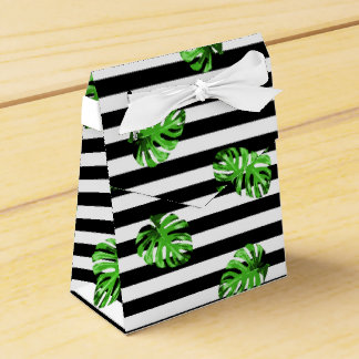 粋な熱帯葉の白黒のストライプのな装飾 フェイバーボックス
