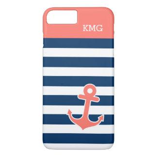 粋な珊瑚海軍ストリップのかわいいいかりのモノグラム iPhone 8 PLUS/7 PLUSケース