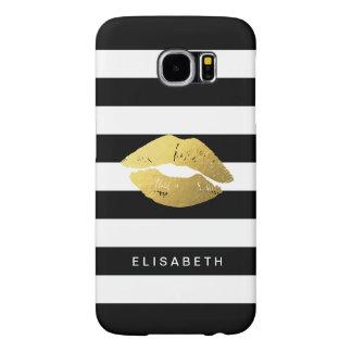 粋な白黒のストライプが付いているガーリーな金ゴールドの唇 SAMSUNG GALAXY S6 ケース
