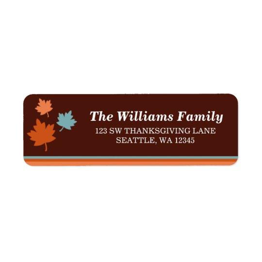 粋な紅葉の感謝祭の宛名ラベル 返信用宛名ラベル
