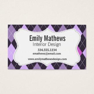 粋な紫色のアーガイル 名刺