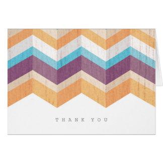 粋な紫色のオレンジ及び青のシェブロンは感謝していしています ノートカード