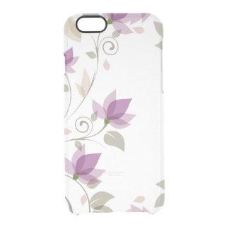 粋な紫色の抽象芸術の花柄 クリアiPhone 6/6Sケース